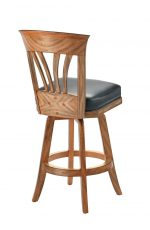 Darafeev's Nomad Flexback Wood Swivel Bar Stool in Maple Cocobola and Black Seat Cushion - View of backside
