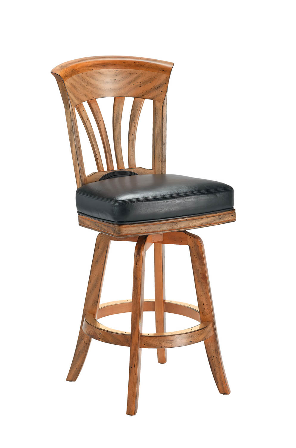 Nomad Maple Wood Upholstered Flexback Swivel Stool
