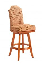 Darafeev's San Marino Wood Upholstered Swivel Bar Stool with Button Tufting on Back