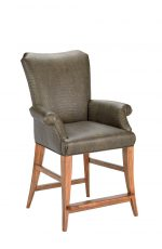Darafeev's Treviso Wood Upholstered Bar Stool with Flex Back and Arms
