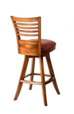 Darafeev's Veneto Wood Upholstered Swivel Bar Stool with Flex Back - View of Back