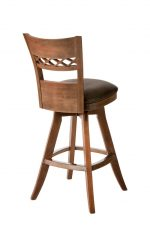 Darafeev's Verona Wood Upholstered Swivel Bar Stool with Flex Back and Seat Cushion - View of Back