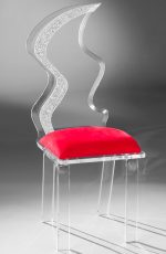 Muniz Glacier Clear Acrylic Modern Dining Chair with Red Seat Cushion