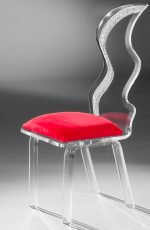 Muniz Glacier Clear Acrylic Modern Dining Chair with Red Seat Cushion - Side View