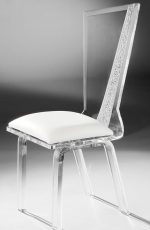 Muniz Hollywood Lucite Acrylic Modern Dining Chair with Tall Back and White Seat Cushion