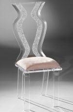 Muniz Monaco/Wynter Clear Acrylic Modern Dining Chair with Zig Zag Back Design and Seat Cushion