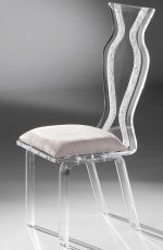 Muniz Monaco Clear Acrylic Modern Dining Chair with Zig Zag Back Design and Seat Cushion - Side View