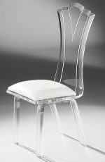 Muniz Princess Acrylic Modern Dining Chair with Seat Cushion - Side View