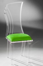 Muniz Prisma Clear Acrylic Modern Dining Chair with Green Seat - Customizable