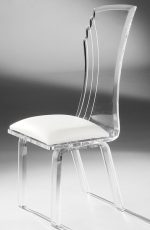 Muniz Prisma Clear Acrylic Modern Dining Chair with White Seat - Customizable