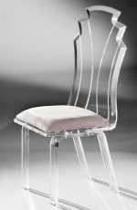 Muniz Tiffany Acrylic Modern Dining Chair with White Seat Cushion