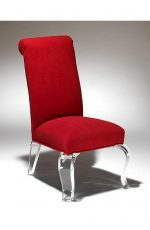 Muniz Vienna Acrylic Upholstered Dining Chair in Red Seat and Back Cushion