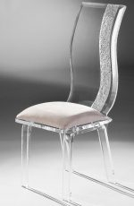Muniz Wave Clear Acrylic Modern & Elegant Dining Chair with Tall Back and Seat Cushion