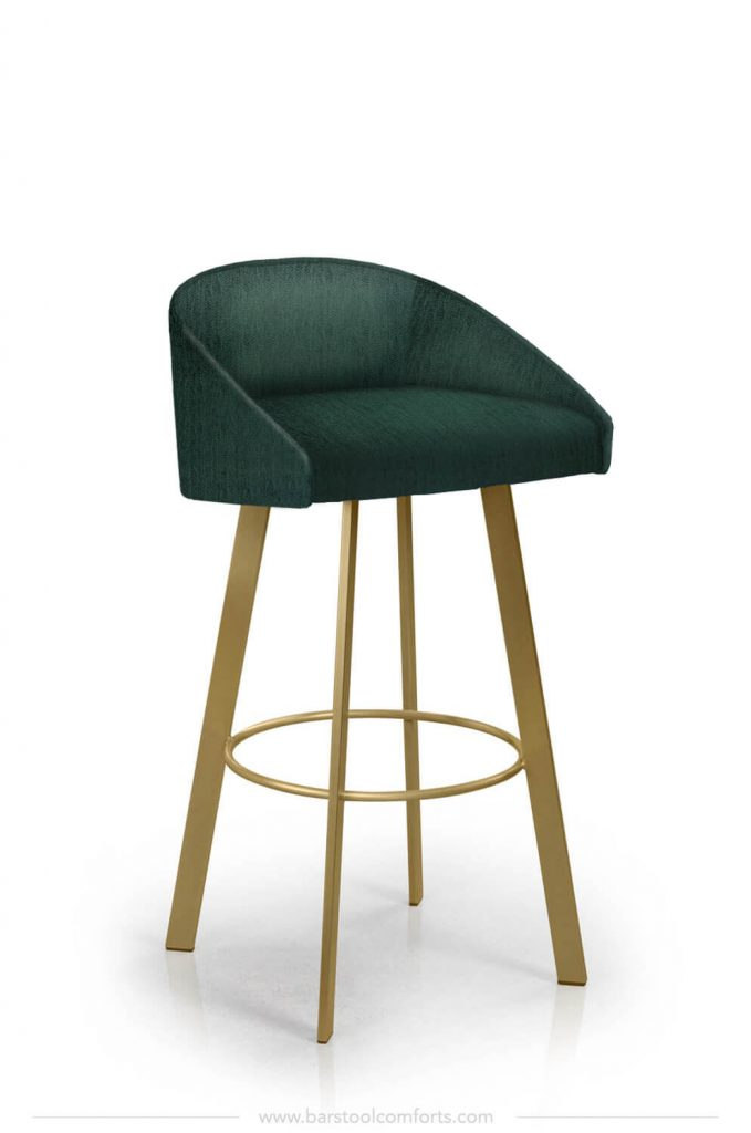 Trica's Liv Modern Gold and Emerald Green Swivel Bar Stool with Low Back
