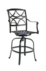 Woodard's Wiltshire Cast Aluminum Outdoor Swivel Bar Stool with Arms