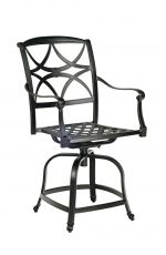 Woodard's Wiltshire Cast Aluminum Outdoor Swivel Counter Stool with Arms