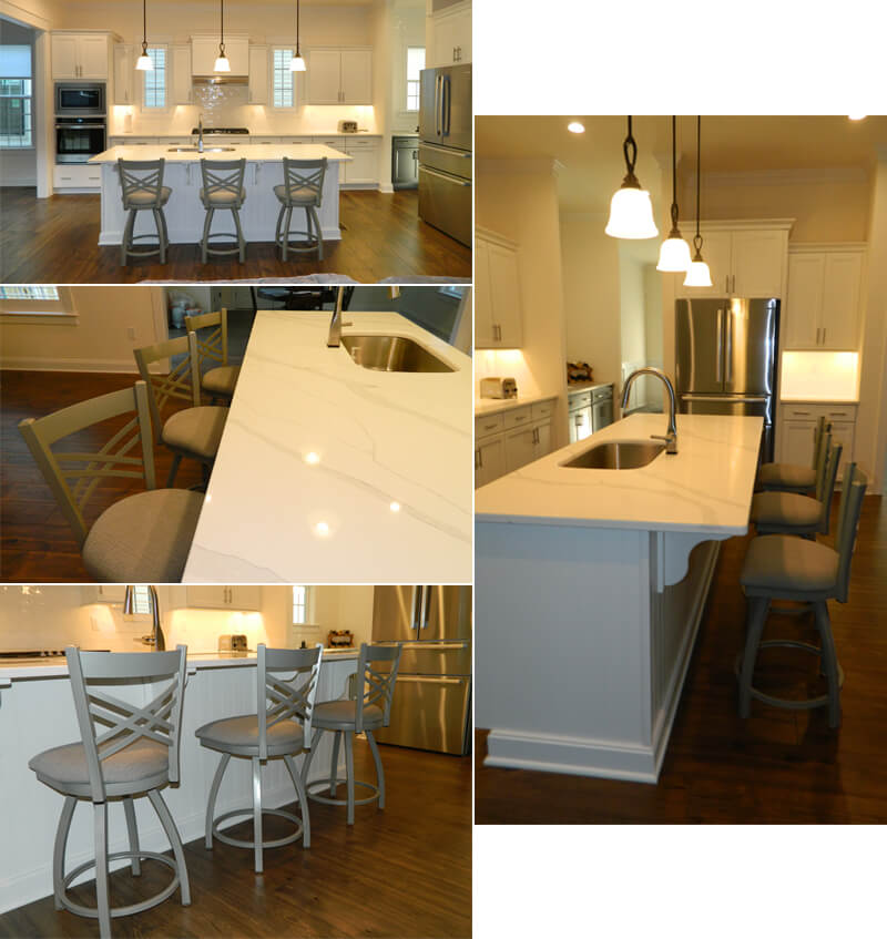 Holland's 820 Catalina Transitional Swivel Metal Bar Stools in Modern Large White Kitchen