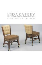 Darafeev's 960 Armless Traditional Dining Chair with Wheels, Nailhead Trim, and Button Tufting