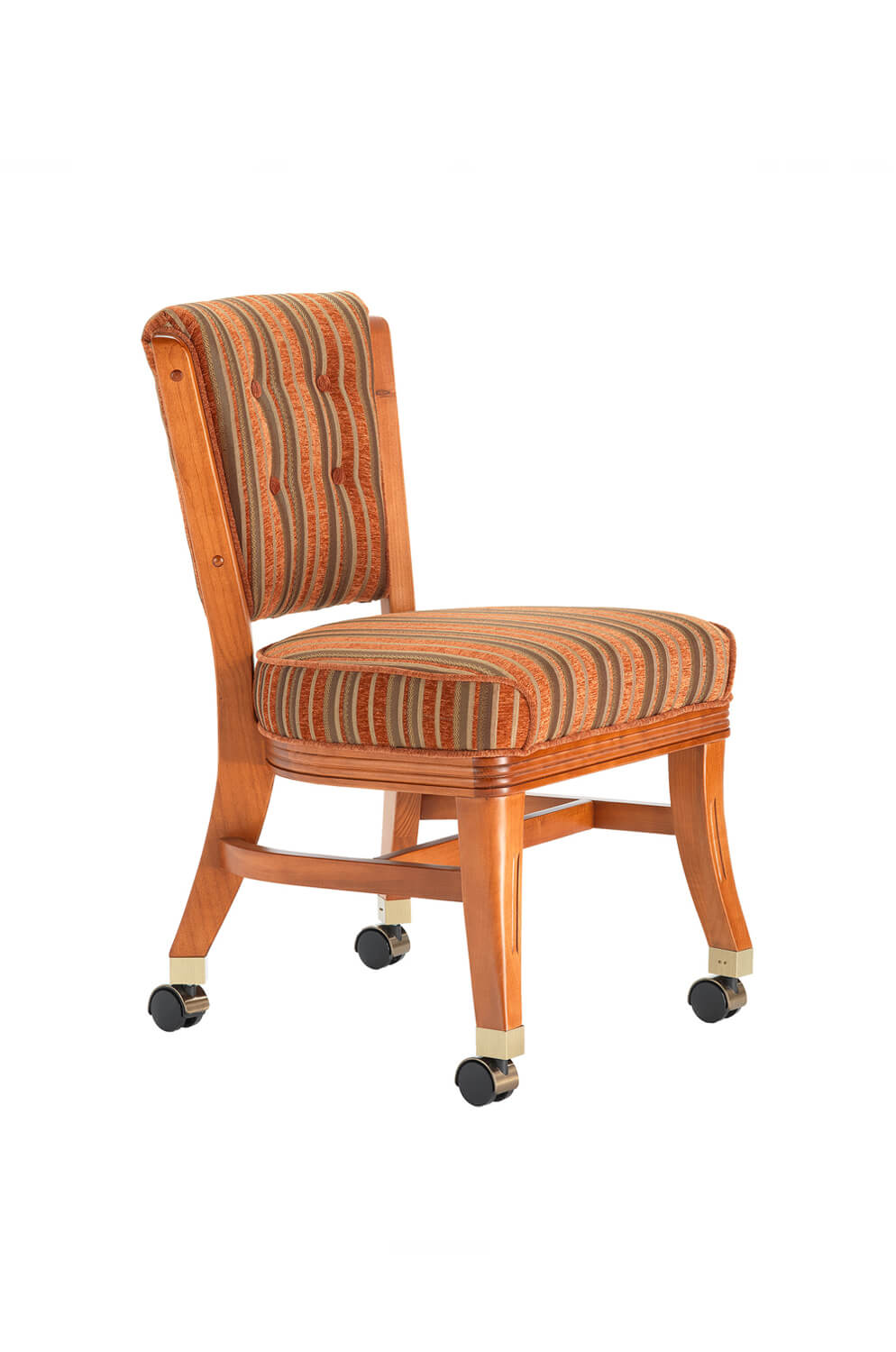 960 Maple Wood Upholstered Dining Chair with Casters