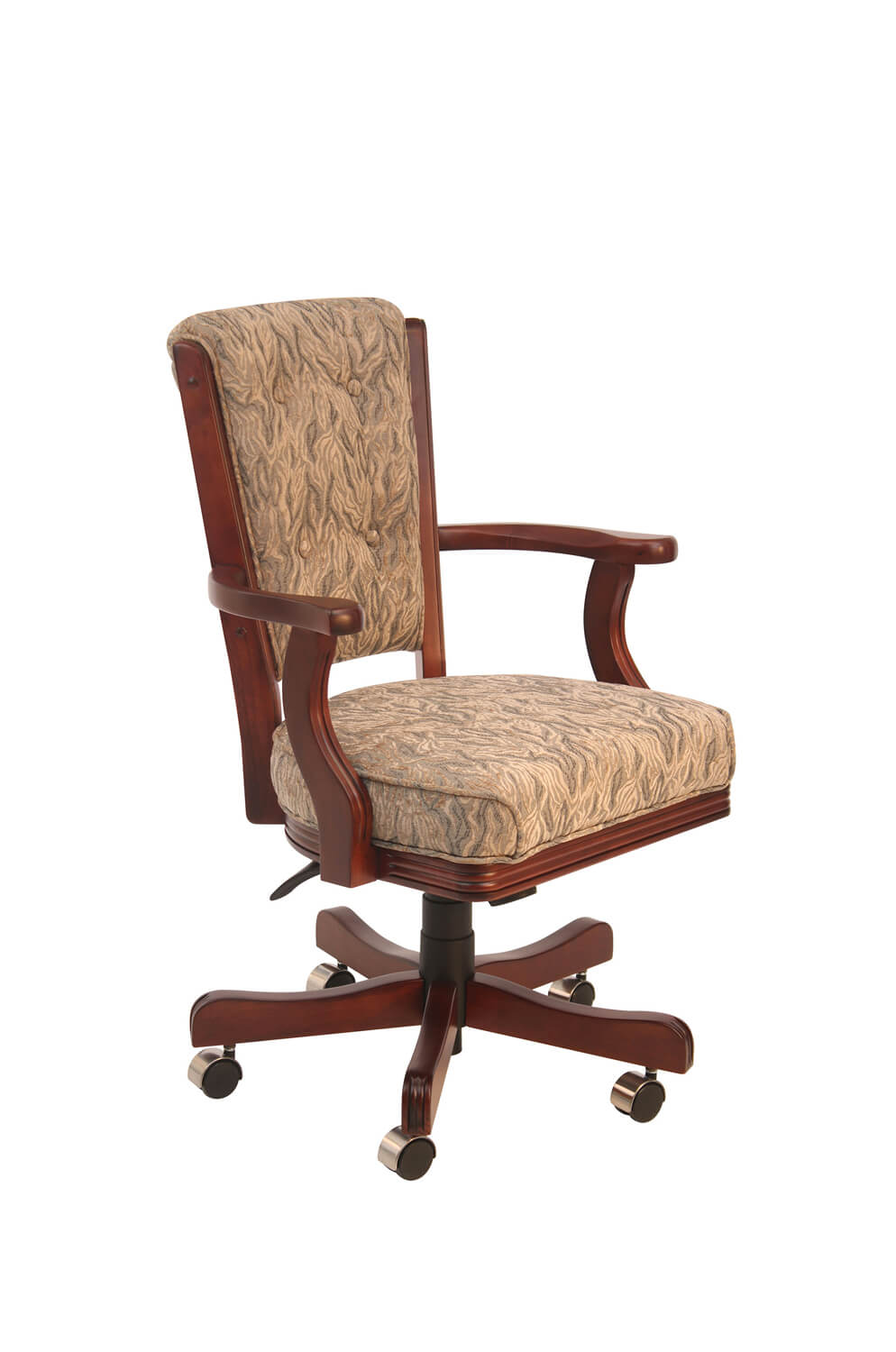 960 Maple Wood Upholstered High Back Game Arm Chair with Casters, Adjustable Height