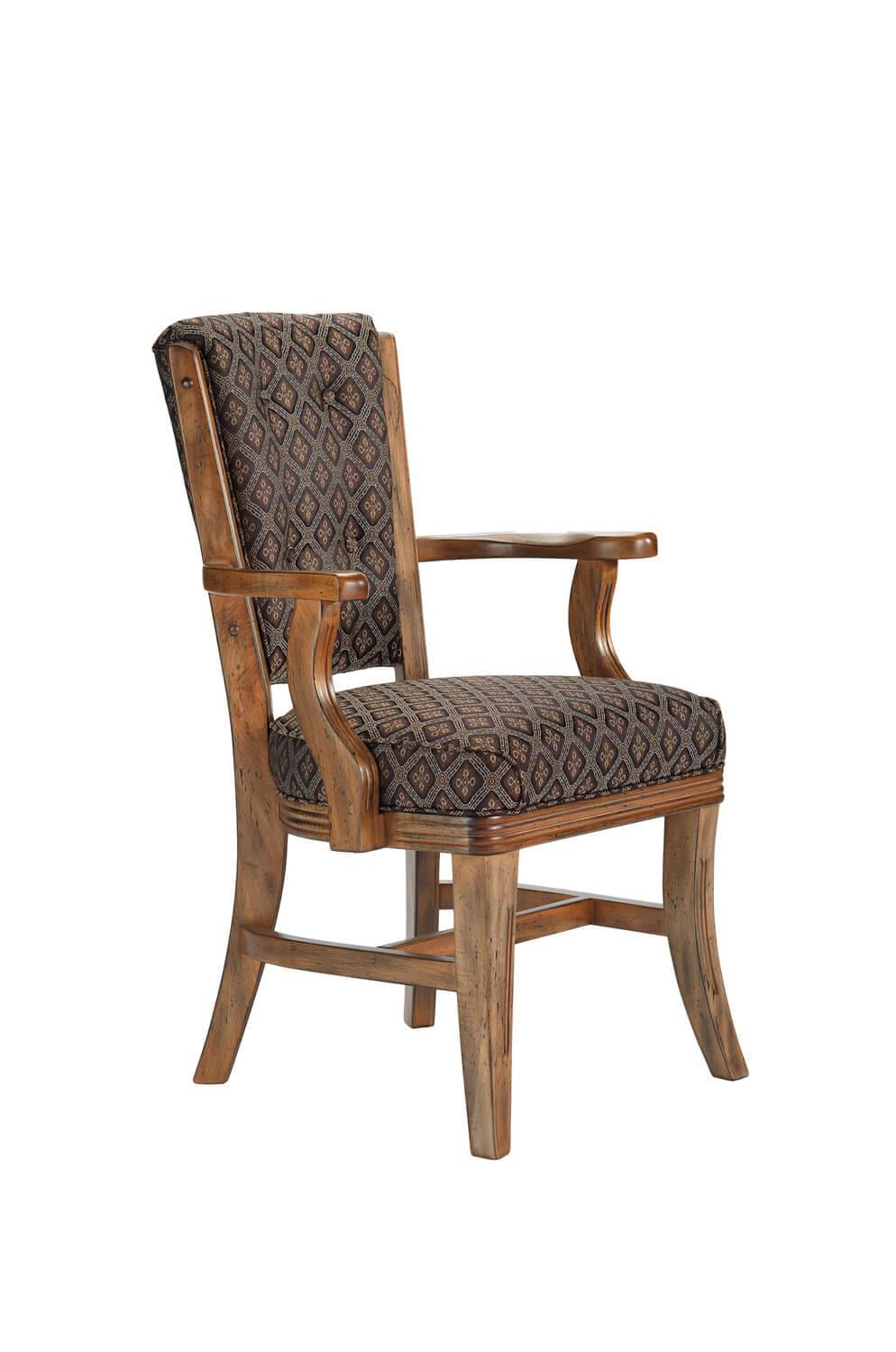 960 Maple Wood Upholstered High Back Dining Chair with Arms