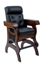 Darafeev's Habana High Back Cigar Chair in Black Leather with Arm Storage, Wood Frame, and Side Pockets with Nailhead Trim