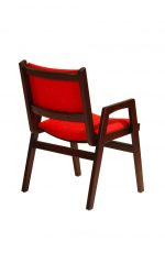 Darafeev's Spencer Arm Wood Stacking Chair in Red Cushion and Wood Frame - Back View