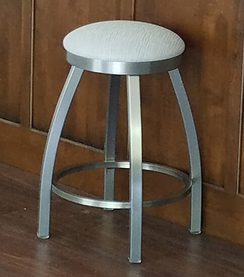Holland's #802 Misha Backless Swivel Stool in Stainless Steel and Gray Round Seat Cushion in Transitional Kitchen