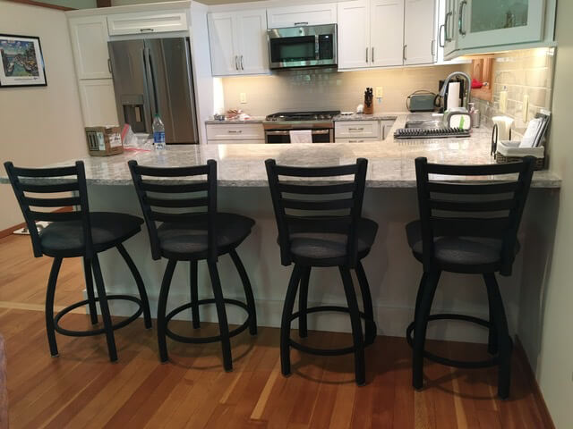 Holland's Jackie 410 Black Swivel Counter Stools in Modern Kitchen