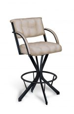 Lisa Furniture's #174 Swivel Bar Stool with Padded Arms, Tufted Back, and Metal Frame Base