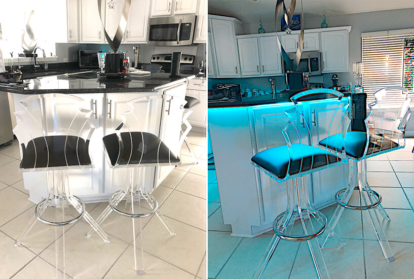 Muniz Tiffany Modern Lucite Acrylic Swivel Bar Stools with Back and Black Seat Cushion in Modern Kitchen
