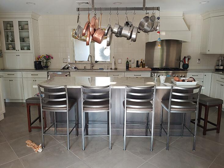 Wesley Allen's Customer Kitchen with Benton Non-Swivel Bar Stools in Modern Industrial Kitchen