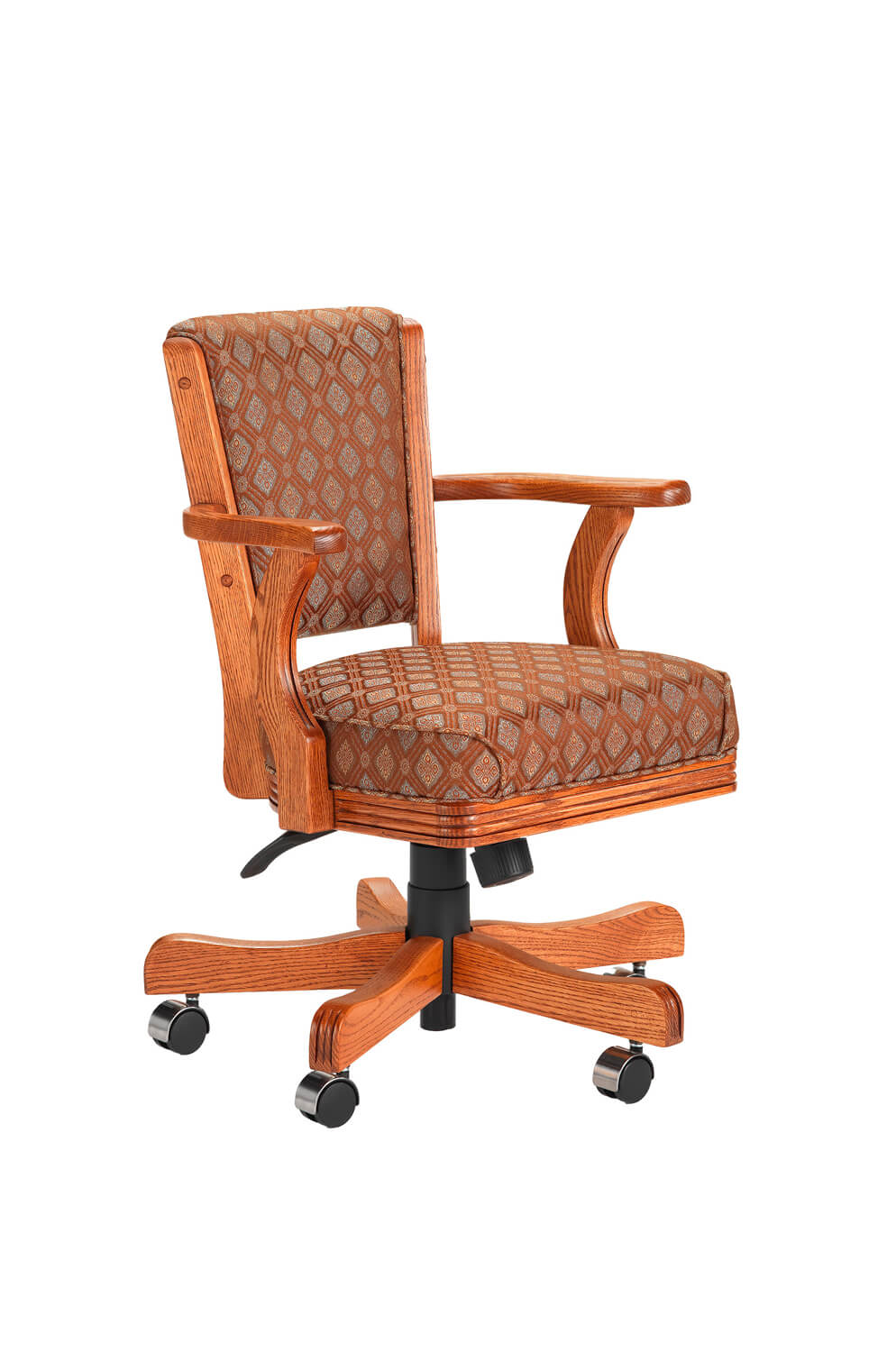 610 Oak Wood Upholstered Arm Game Chair with Casters