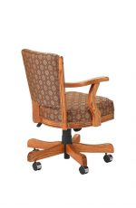 Darafeev's #610 Upholstered Arm Game Chair in Oak Wood - View of Back