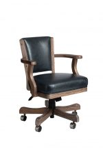 Darafeev #660 Wood Game Chair with Arms and Casters - Adjustable Height - with Tilt Swivel