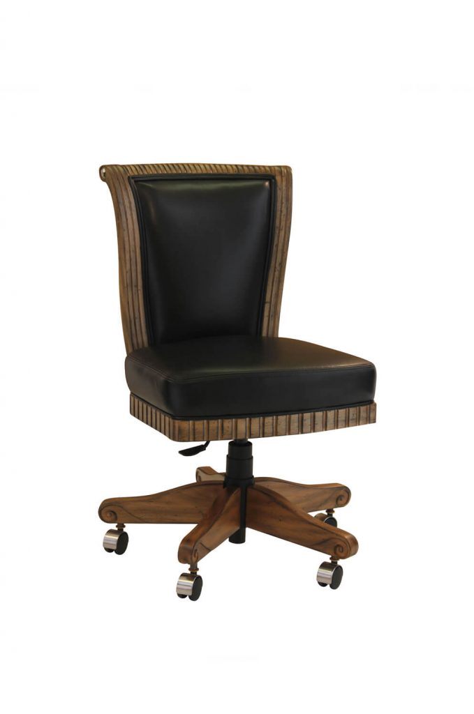 Darafeev's Bellagio Flexback Game Chair in Black Leather with Maple Wood Frame and Casters