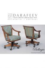 Darafeev's Bellagio Luxury Wood Dining Chair with Arms and Wheels on Feet