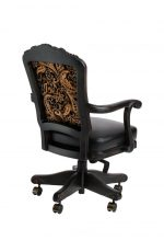 Darafeev's Centurion Swivel Luxury Adjustable Game Chair with Arms in Black - with Pattern Upholstery on Back