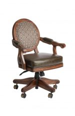 Darafeev's Chantal Maple Game Chair with Oval Back, Arms, and Casters