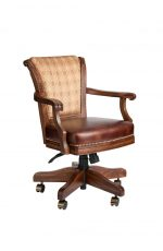 Darafeev's Classic Adjustable Swivel Game Chair with Arms and Nailhead Trim