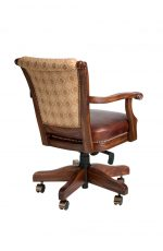Darafeev's Classic Adjustable Swivel Game Chair with Arms and Nailhead Trim - View of Back