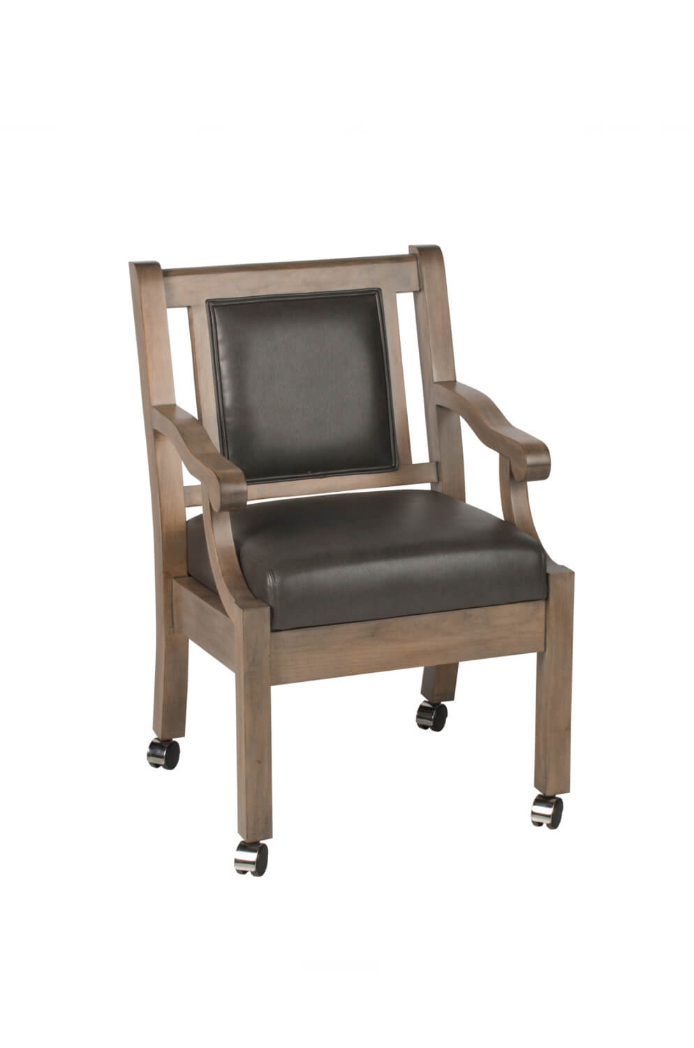 Duke Maple Wood Club Chair with Arms and Casters