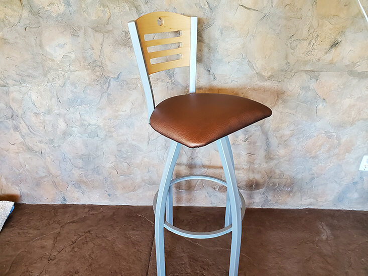 Holland's Voltaire Swivel Extra Tall Bar Stool in Nickel Metal Finish, Wood Back, and Seat Cushion