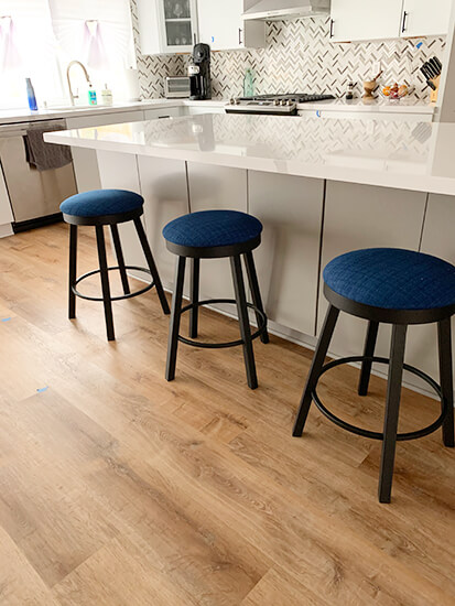Amisco's Connor Backless Swivel Black Metal Counter Stool in Modern Kitchen