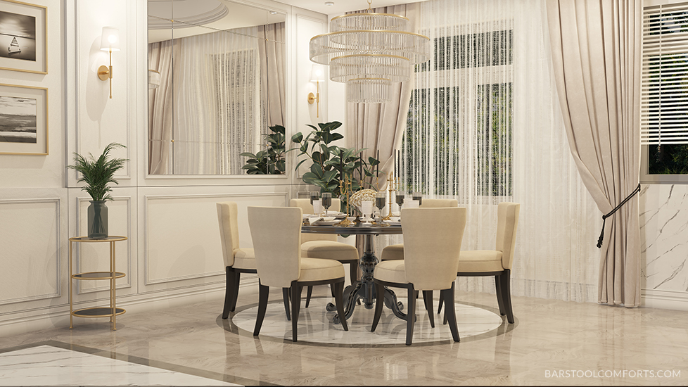 Dara Modern Upholstered Dining Chairs in Large Beautiful Dining Room