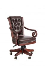 Darafeev's Pizarro Swivel Dining Chair with Button-Tufting on Back, Arms, Nailhead Trim, and Adjustable Seat Height
