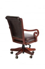 Darafeev's Pizarro Swivel Dining Chair with Button-Tufting on Back, Arms, Nailhead Trim, and Adjustable Seat Height - View of Back