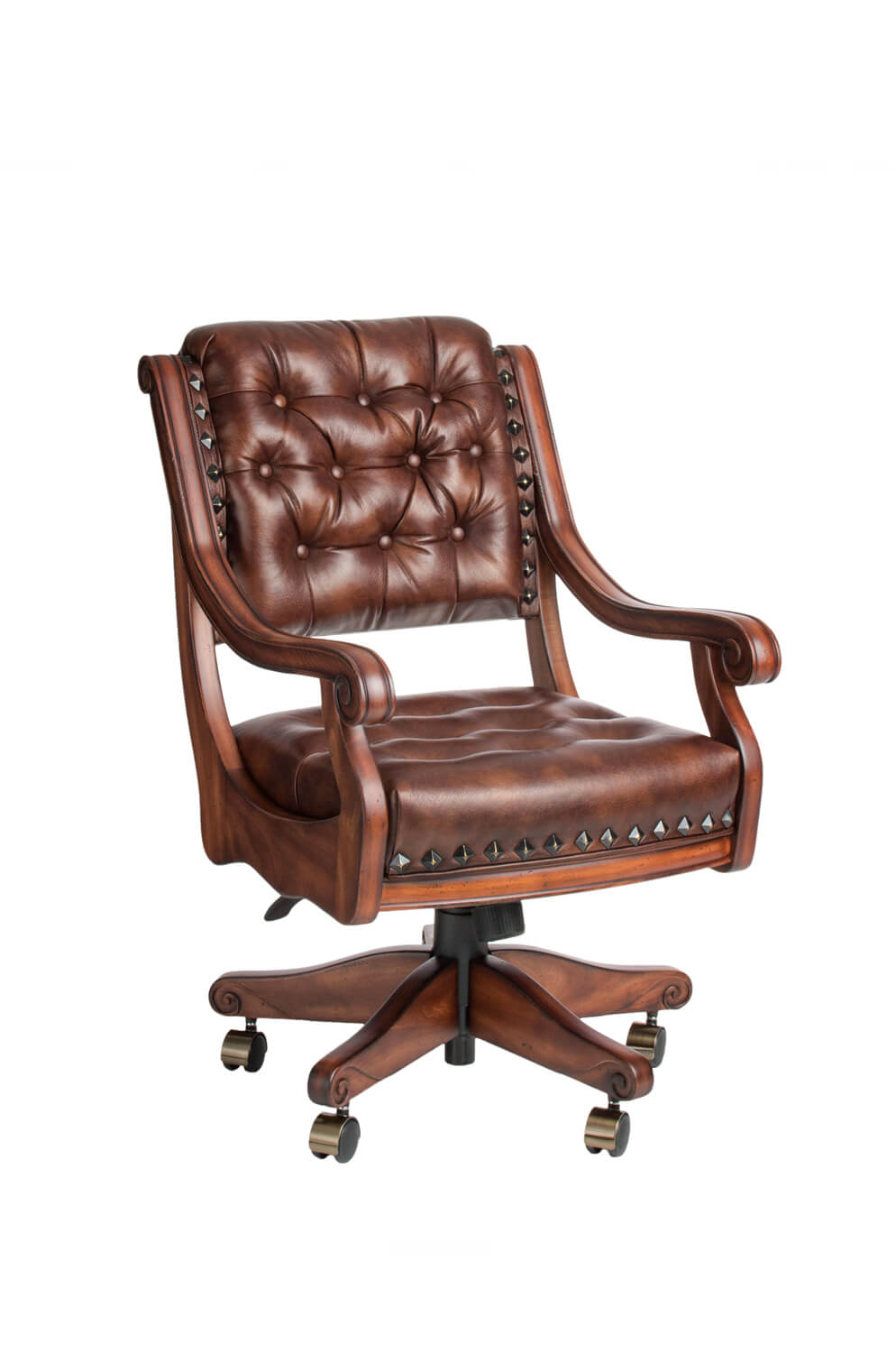 Ponce De Leon Maple Adjustable Swivel Game Chair with Arms