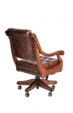Darafeev's Ponce De Leon Swivel Game Chair with Arms, Nailhead Trim, Button-Tufting, and Adjustable Height - View of Back