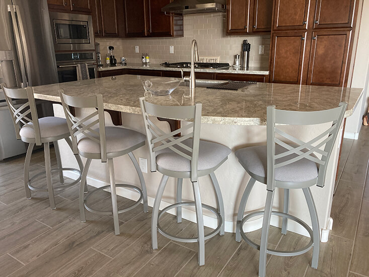 Holland's Catalina Swivel Counter Stools in Nickel and Gray Seat Cushion in Transitional Brown and Gray Kitchen